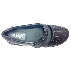 Leyland SUAVE 54 3118 Negro, pie diabetico, horma muy ancha, cierre con velcro, piso de goma, plantilla extraíble