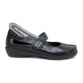 Leyland 36M 3429 Zapato mujer merceditas negro velcro plantilla extraíble