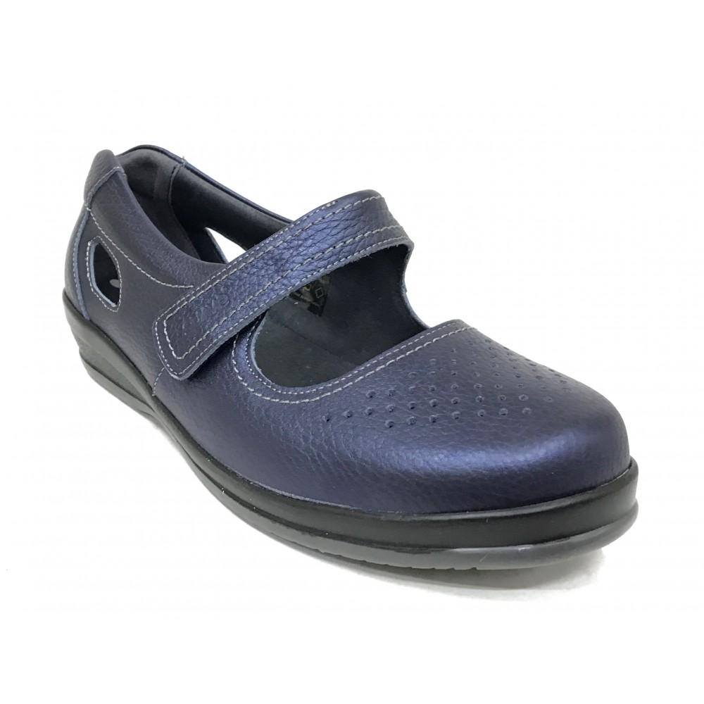 Leyland SUAVE 68 3127 Azul marino, pie diabetico, horma muy ancha, cierre con velcro, piso de goma, plantilla extraíble
