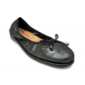 Flex&go 49 5105 manoletina zapato de verano de mujer, negro brillo, piso goma plano, forro piel