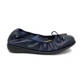 Flex&go 50 5105 manoletina zapato de verano de mujer, azul marino, piso goma plano, forro piel