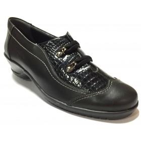 Suave 74 3204 Negro, zapato abotinado de mujer, piel y charol, piso de goma con tacón de 4 cm, elástico y plantilla extraíble