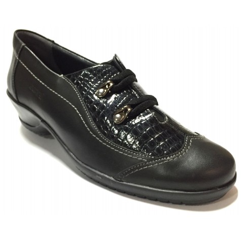 Suave 74 3204 Negro Zapato Abotinado de Mujer