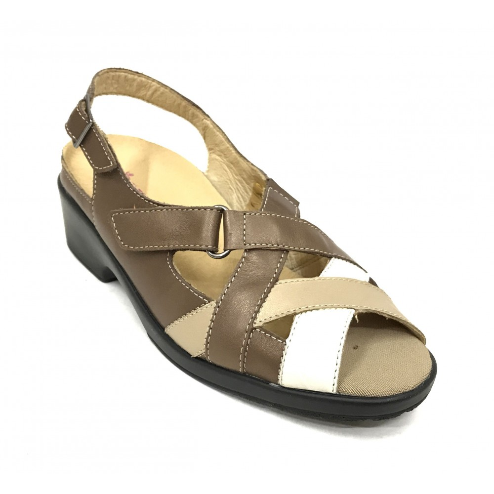 Flex&Go 66 5171 sandalia mujer marrón beige y blanco, plantilla extraíble, piso goma 4,5 cm, hebilla y velcro