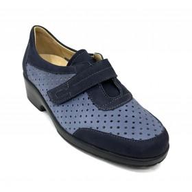 Flex&go 67 5507 zapato calado verano de mujer, azul marino, plantilla extraíble, velcro y cuña de 4,5 cm