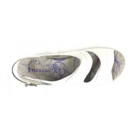 Flex&go 62A 4579 sandalia mujer blanco sucio, piel, cierre con velcros y hebilla lateral, piso de goma con cuña 4 cm