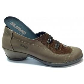 Suave 75 3204 Marrón, zapato abotinado de mujer, nubuck y charol, piso de goma con tacón de 4 cm, elástico y plantilla extraíble