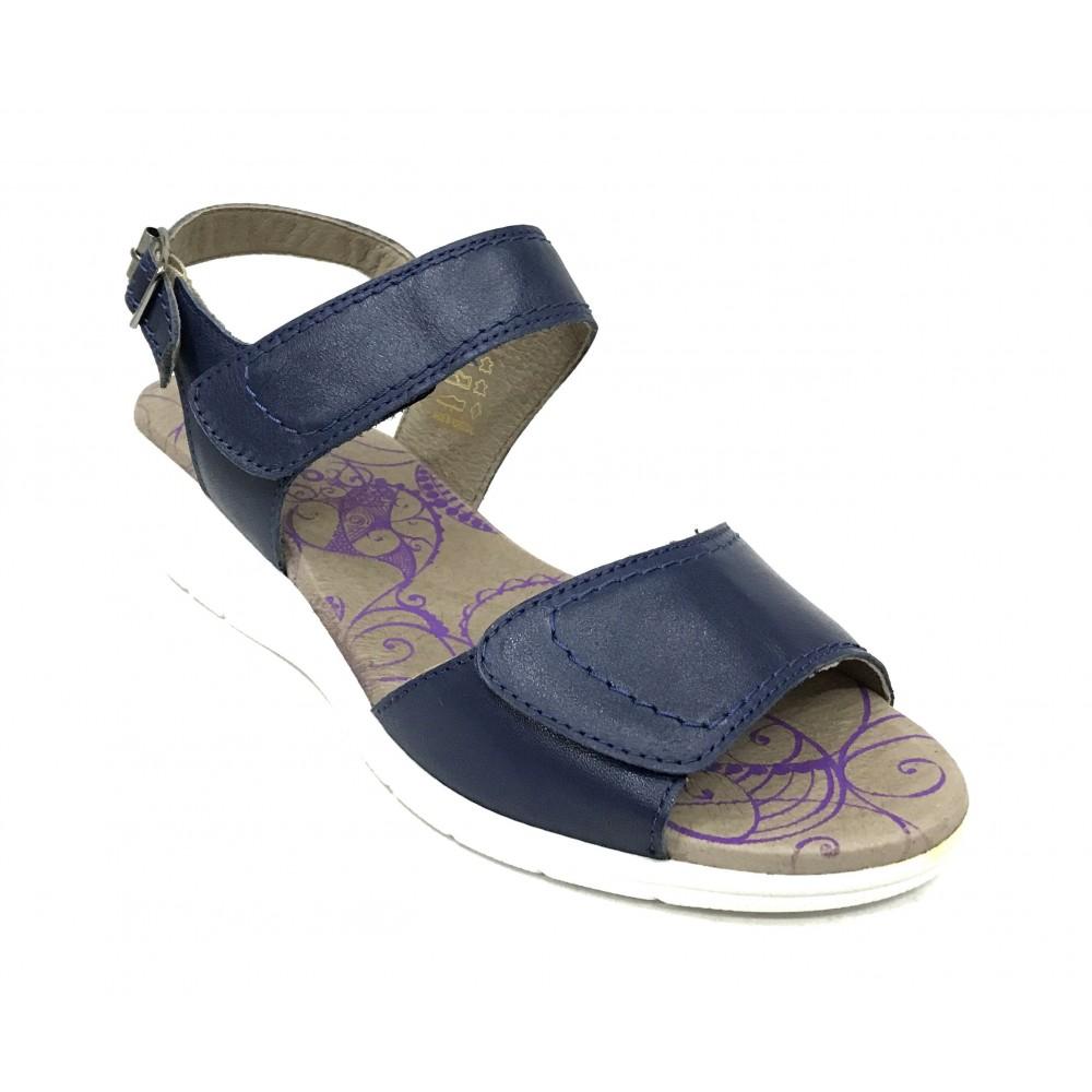 Flex&go 71 5584 sandalia mujer azul marino, piel lisa, cierre con dos velcros y hebilla, piso de goma de 4,5 cm