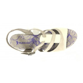 Flex&go 72 17S40057 sandalia mujer sable beig y crema, piel lisa y nubuck, cierre con hebilla, piso de goma de 4,5 cm