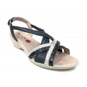 Baerchi 01 41603 sandalia mujer combi marino, azul muy oscuro y plata, piel lisa y brillo, cierre con hebilla, piso de goma de 4