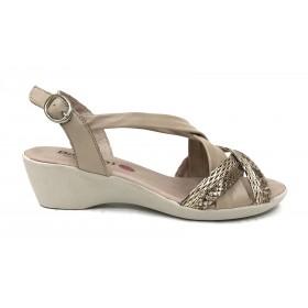Baerchi 02 41603 sandalia mujer combi beig, dorado metalizado, piel lisa y brillo, cierre con hebilla, piso de goma de 4