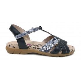 Baerchi 03 42452 sandalia mujer combi azul marino, piel culebrilla, cierre con velcro, piso de goma de 2,5 cm