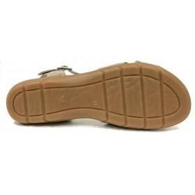 Baerchi 04 42455 sandalia mujer combi castor, beig charol cocodrilo, cierre con hebilla, piso de goma de 2,5 cm