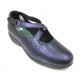 Pinoso's 07 6625-H Azul Zapato Mujer Pie Diabético, forro coolmax, plantilla extraíble de viscolátex, con cuña de 4,5 cm