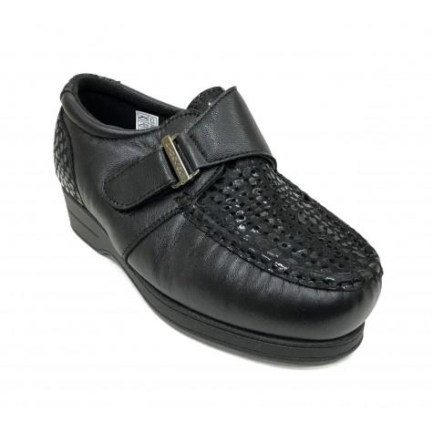 Pinoso's 09 6515-H Negro Zapato Mujer Pie Diabético