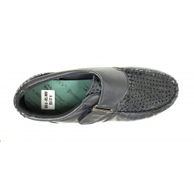 Pinoso's 09 6515-H Negro Zapato Mujer Pie Diabético, forro coolmax, plantilla extraíble de viscolátex, con cuña de 2,5 cm