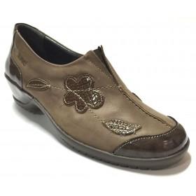 Suave 73 3211 Marrón, zapato abotinado de mujer, adorno flor, piel, tacón de 4 cm, piso de goma y plantilla extraíble