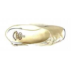 HRAMIS 76 291 Platino, piel lisa y serpiente, sandalia anatómica de mujer, piso de poliuretano con cuña de 5 cm y plantilla arco