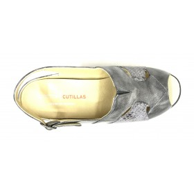 Doctor Cutillas 03 53657 Antracita, Sandalia mujer beig metalizado y serpiente, plantilla extraíble con cuña 3 cm y hebilla