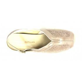 Doctor Cutillas 04 53937 Beig, Sandalia mujer de licra metalizado, plantilla extraíble con cuña 3 cm y hebilla