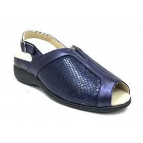 Doctor Cutillas 05 53937 Pacifico, Sandalia mujer azul marino, piel y licra, plantilla extraíble, con cuña 3 cm y hebilla