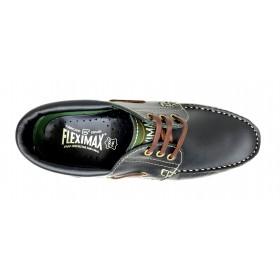 Fleximax 3500 zapato naútico pull negro, piel vacuno, piso de goma de montaña pegado y cordones de cuero