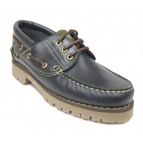 ba1ee40a Fleximax 3500 zapato naútico pull azul marino, piel vacuno, piso de goma de  montaña