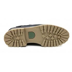 Fleximax 3500 zapato naútico pull azul marino, piel vacuno, piso de goma de montaña pegado y cordones de cuero