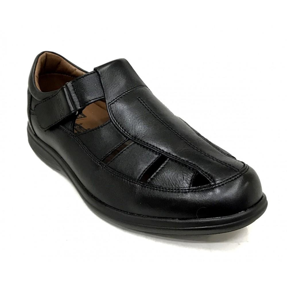 Fleximax 4550 Vacuno Negro, sandalia de caballero, plantilla extraíble de piel, piso poliuretano ligero, cierre con velcro