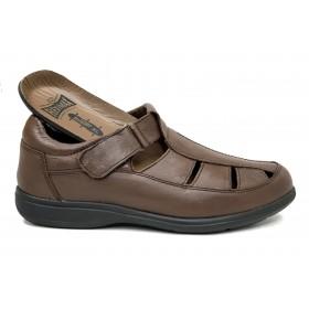 Fleximax 4550 Vacuno Marrón, sandalia cerrada caballero, plantilla extraíble de piel, piso poliuretano ligero, cierre con velcro