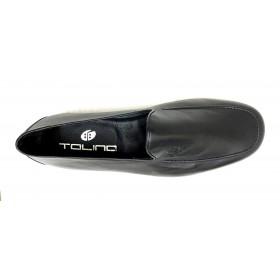 Tolino A7810 Negro Mocasín verano de Hombre, piel napa, piso de goma flexible y forro de toalla