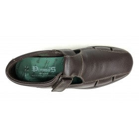 Pinoso's 6008-H Marrón Sandalia Pie Diabético, horma extra ancha, piel napa, plantilla viscolátex 8mm, velcro y piso antishock