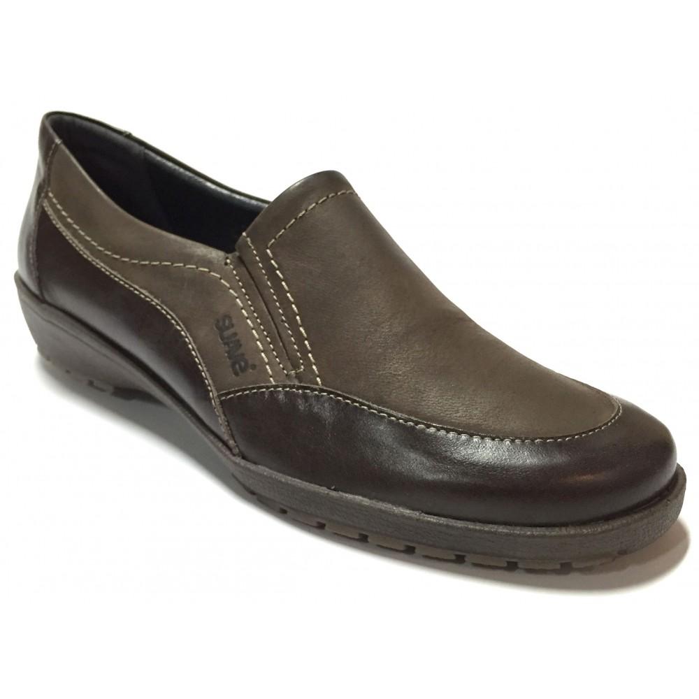 Suave 28 3057 Chest Nut T Moro marrón, mocasín de mujer, piso de goma con cuña de 2,5 cm y plantilla extraíble