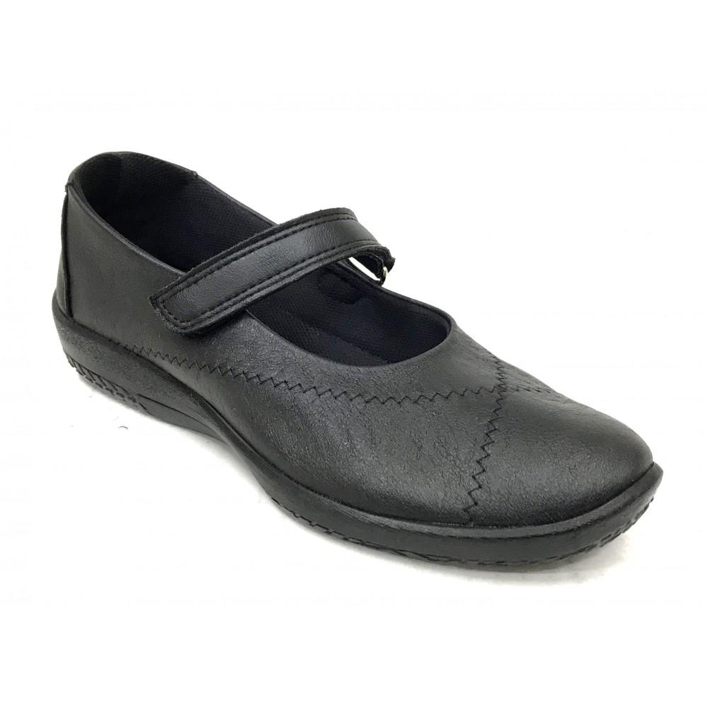 Arcopedico 4271 L18 negro, zapato mujer sport merceditas con plantilla extraíble y cierre velcro, elevación arco, lytech