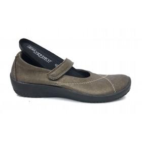 Arcopedico 4271 L18 Marrón, zapato mujer sport merceditas con plantilla extraíble y cierre velcro, elevación arco, lytech