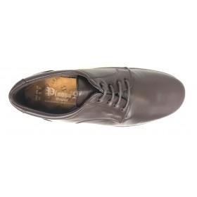 Pinoso's 5975-H Marrón Pie Diabético, plantilla 8mm, cordones, piel y piso de goma ligero