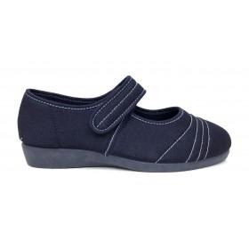 Doctor Cutillas 10209 Azul tejano, zapatilla de mujer tipo merceditas, horma extra ancha, velcro, piso de goma antideslizante