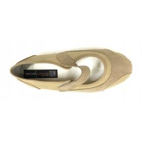Doctor Cutillas 10219 Beig, zapatilla de mujer tipo merceditas, horma extra ancha, velcro, piso de goma antideslizante