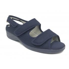 Doctor Cutillas 21821 azul marino, zapatilla de mujer abierta, cierre con velcros, horma extra ancha, piso de goma