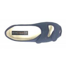 Doctor Cutillas 10212 Marino, zapatilla de mujer cerrada de talón, horma extra ancha, velcro, piso de goma antideslizante