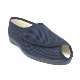 Doctor Cutillas 10206 Marino, zapatilla de mujer cerrada de talón, horma extra ancha, velcro, piso de goma antideslizante