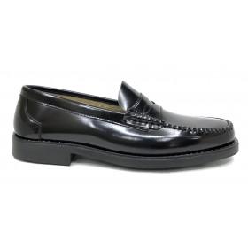 Jenker 1910 Castellano Negro, piel florenti cuero, piso de goma cosido, ancho 10