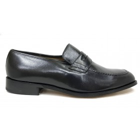 Milán 050 Bordón Negro Ancho 13 zapato  Clásico Hombre, piel cabra, suela de cuero, cosido, forro piel