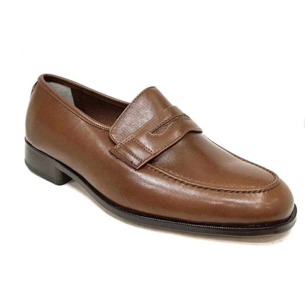 Milán 050 Bordón Marrón Ancho 13 zapato Clásico Hombre, en piel, suela de cuero, plantilla piel y cosido a mano