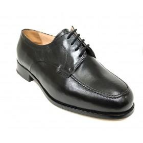 Milán 051 Bordón Negro Cordones Ancho 13 zapato Clásico Hombre, piel cabra, plantilla piel y suela de cuero cosida a mano
