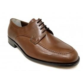 Milán 051 Marrón Cordones Ancho 13 zapato Clásico Hombre, piel, suela de cuero y cosido a mano