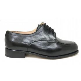 Milán 051 Negro Cordones Ancho 16 Clásico Hombre, zapato con suela de cuero cosida, plantilla y forro de piel