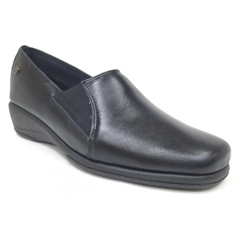 Flex&Go 08 2700 Negro Zapato de Mujer Básico, cosido, piel suave, con plantilla de piel y cuña de 3,5 cm