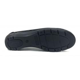 Flex&Go 56 18W90011 Negro charol, Mocasín de Mujer Básico, cosido, piel suave, con plantilla de piel acolchada y cuña de 3,5 cm