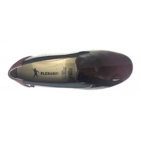 Flex&Go 57 18W90011 Burdeos charol, Mocasín de Mujer Básico, cosido, piel suave, plantilla de piel acolchada y cuña de 3,5 cm